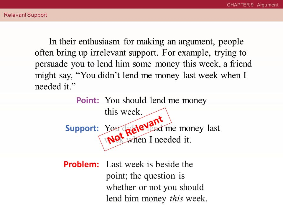 CHAPTER 9 Argument Relevant Support. In their enthusiasm for making an argument, people often bring up irrelevant support.