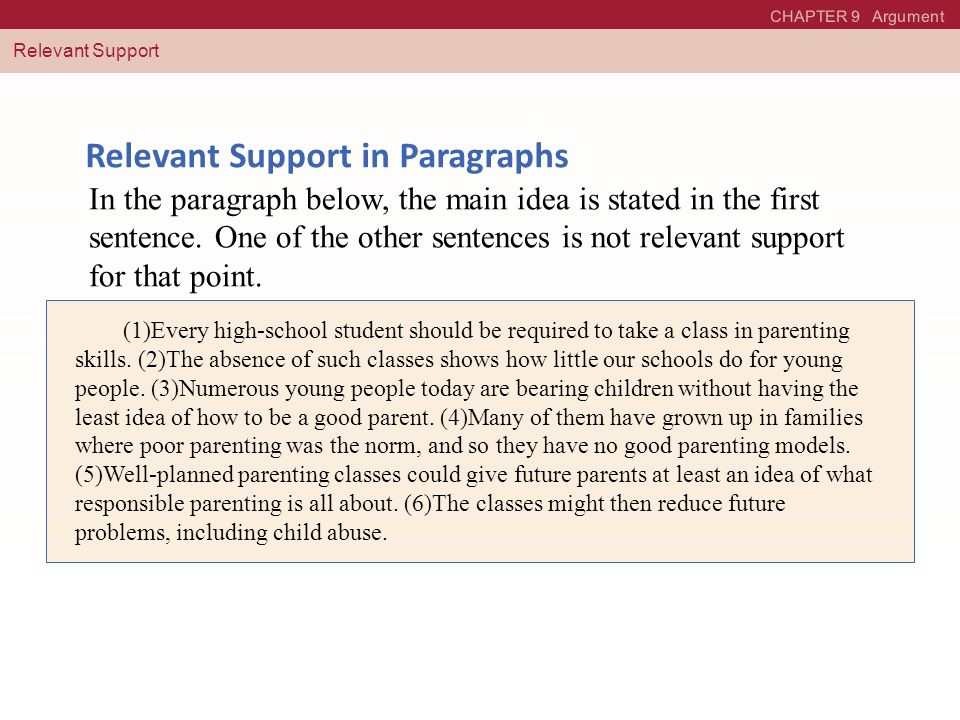 Relevant Support in Paragraphs