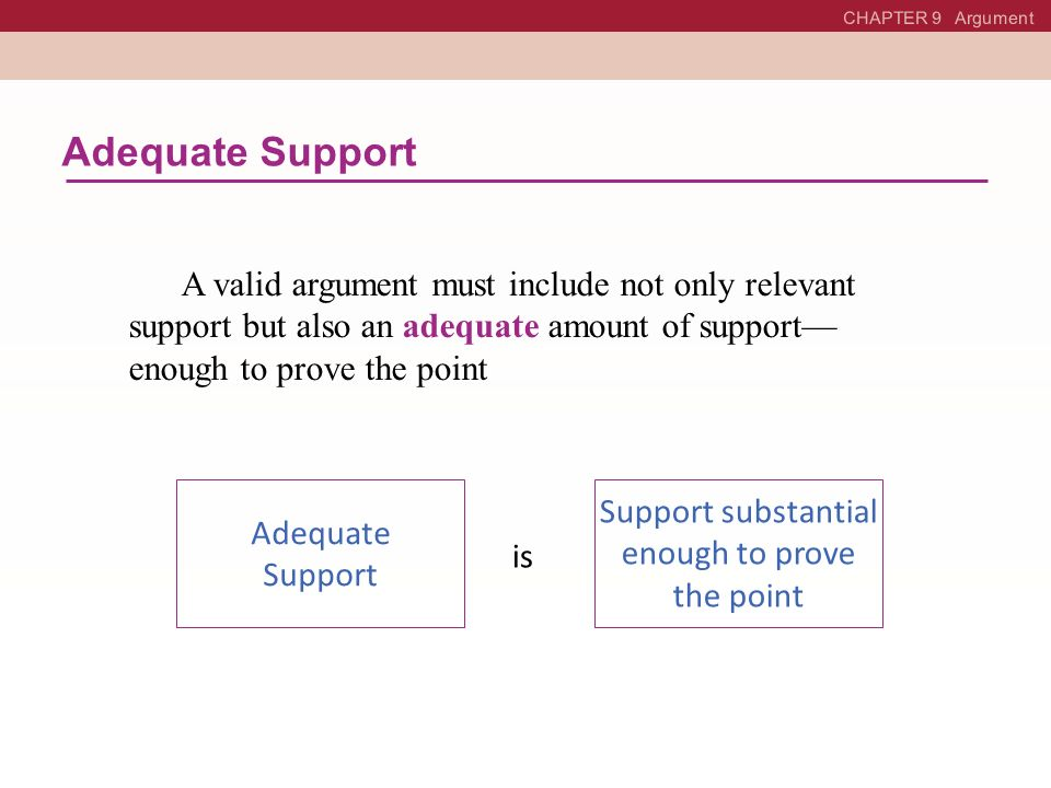 Support substantial enough to prove the point