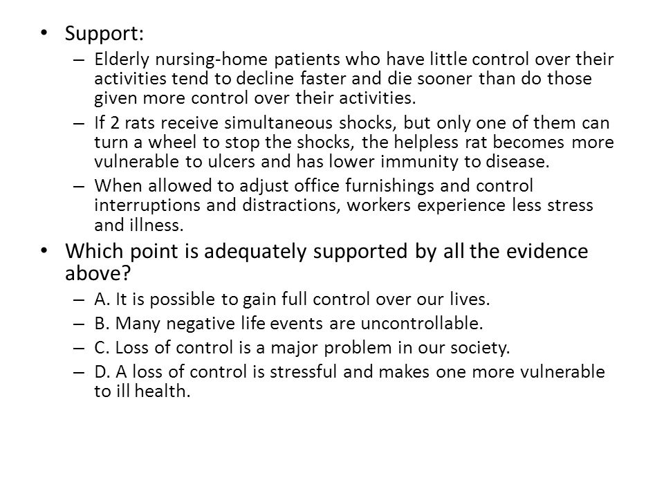 Which point is adequately supported by all the evidence above