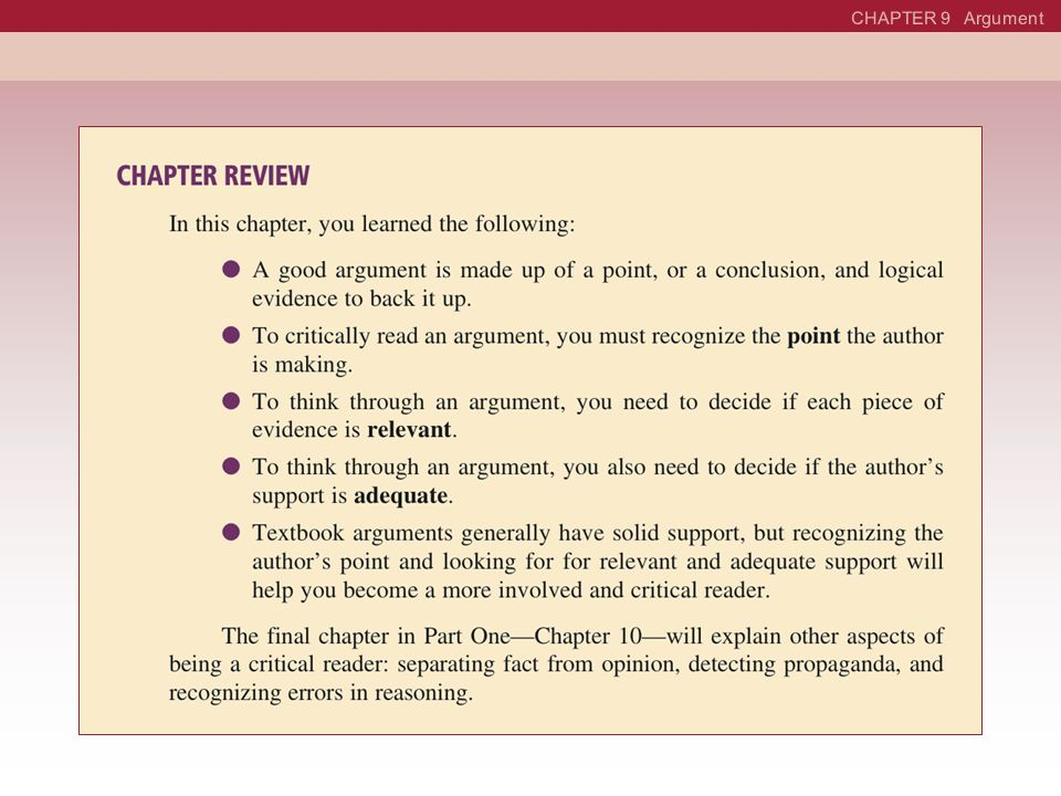 CHAPTER 9 Argument See page 376 in textbook.