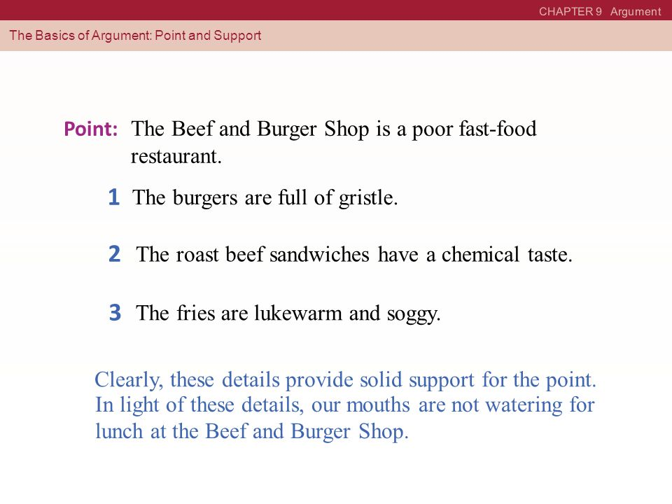 1 2 3 Point: The Beef and Burger Shop is a poor fast-food restaurant.