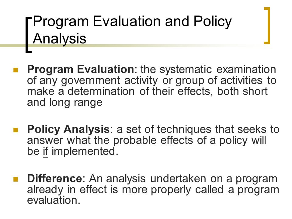policy analysis and evaluation pdf