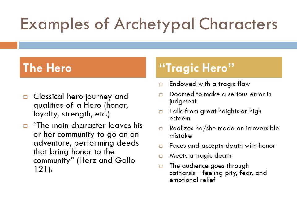 The definition of a hero through examples from literature