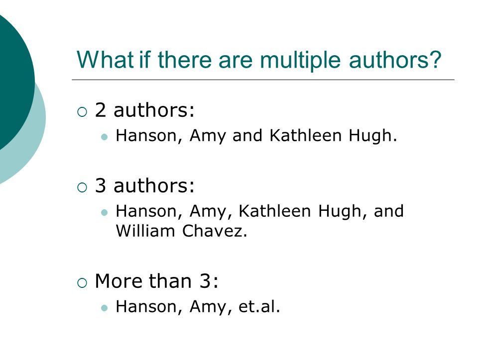 Multiple Authors
