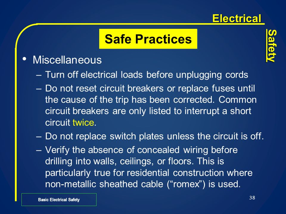 Basic Electrical Safety Ppt Download