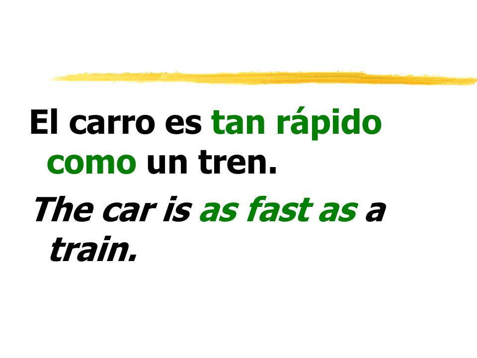 El carro es tan rápido como un tren.