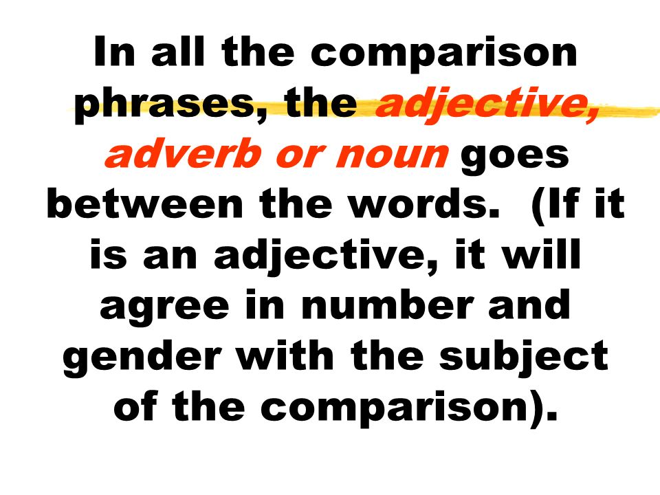 In all the comparison phrases, the adjective, adverb or noun goes between the words.