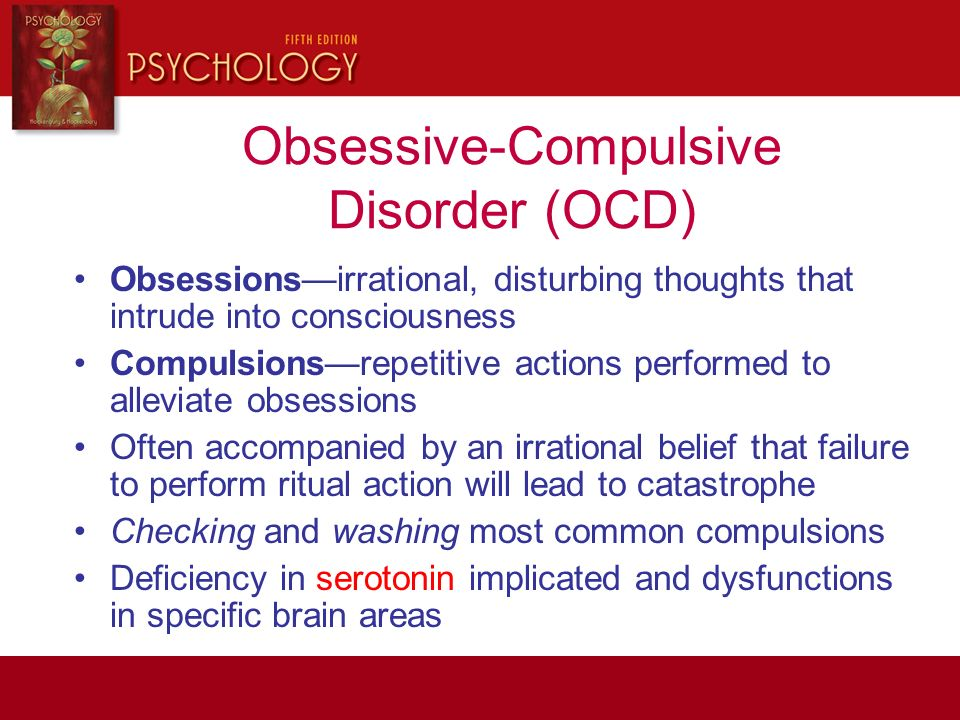 obsessive compulsive disorder psychology Obsessive compulsive disorder (ocd) a special section in clinical psychological science highlights the different approaches that psychology researchers are.