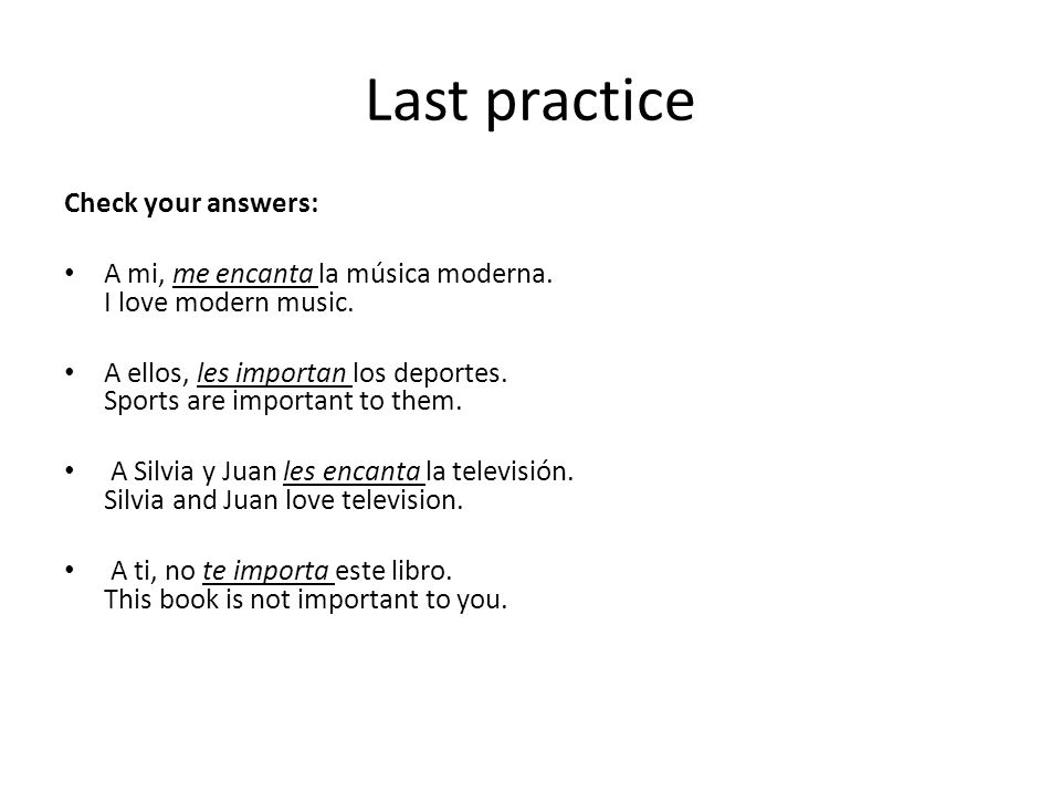 Last practice Check your answers: