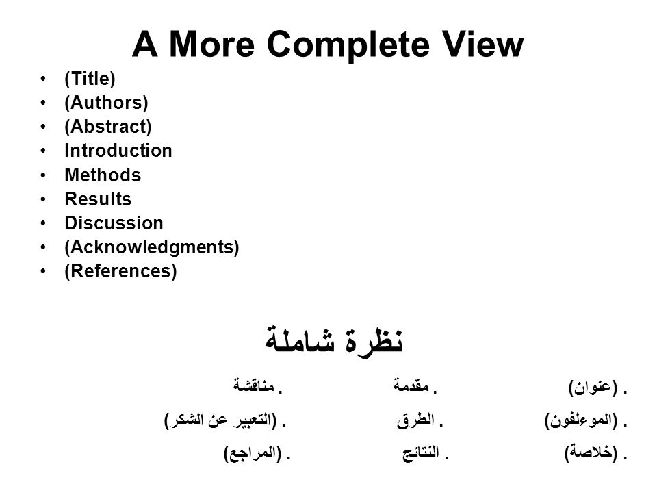 A More Complete View نظرة شاملة