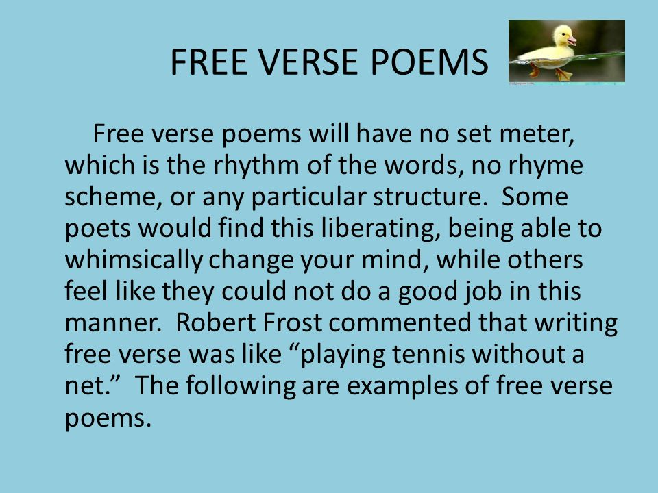 how to write a good poem in free verse
