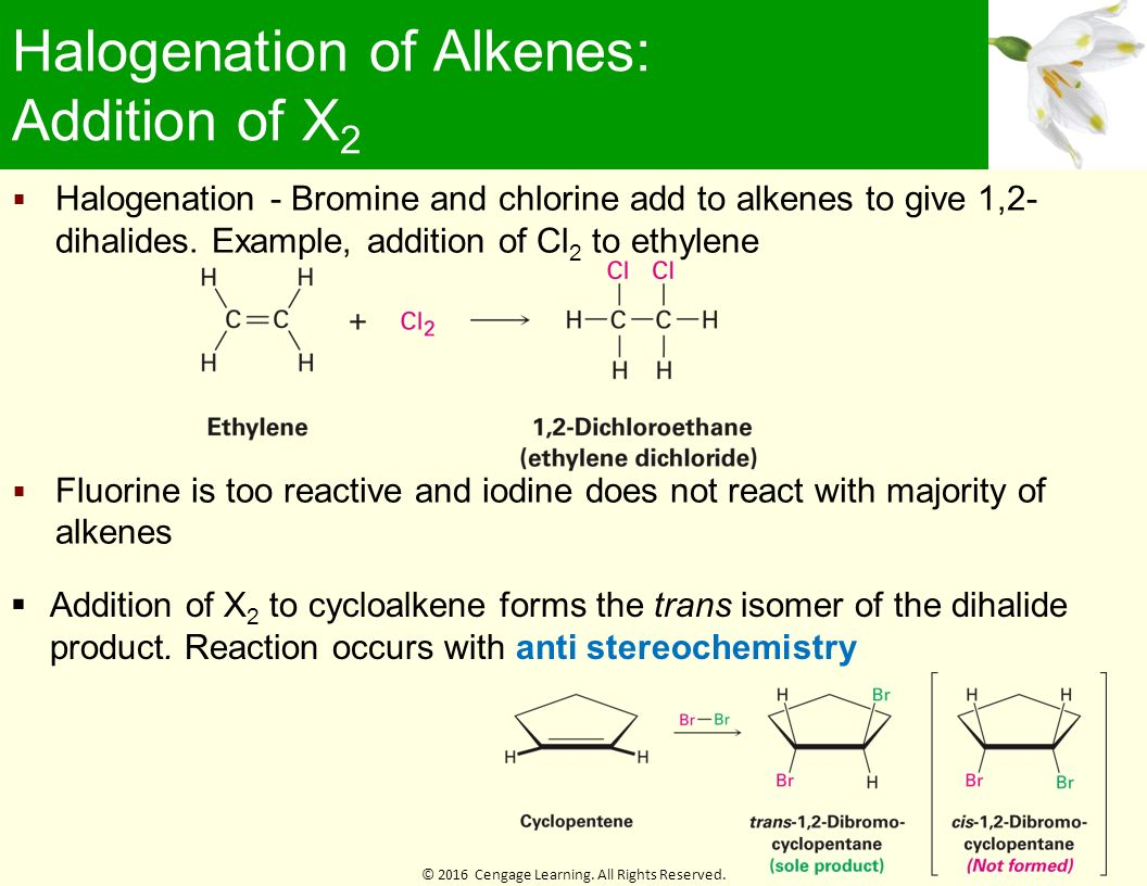 stereochemistry of bromine addition Bromine addition reaction of trans-cinnamic acid: determination of the stereochemistry of the addition reading and other preparation to be done before lab always read the background information and techniques book sections, watch videos of any starred techniques, and prepare your notebook before lab.