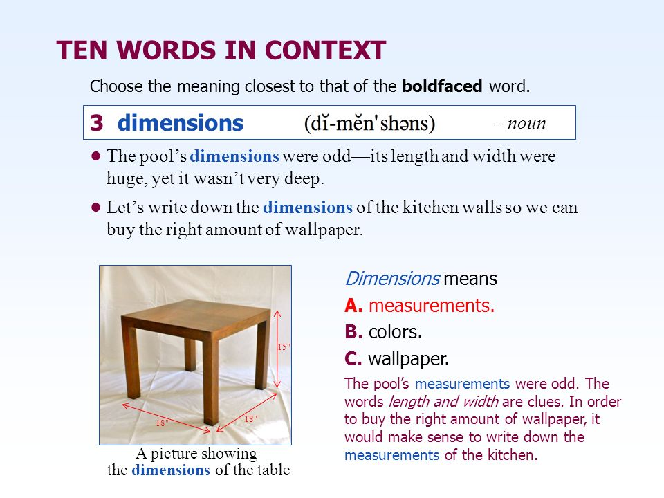 How To Write Dimensions Of Furniture Designs The Table Building Vocabulary Skills Ppt Video Online