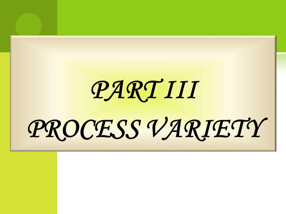 PART III PROCESS VARIETY