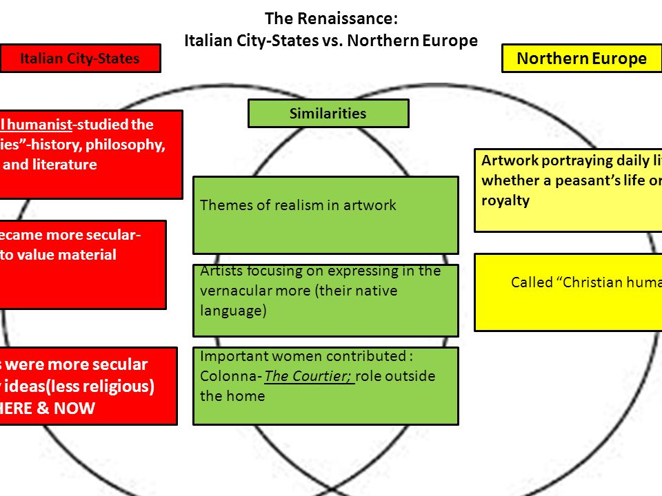 renaissance comparison italian and northern europe The primary differences between northern renaissance art and italian renaissance art were the emphasis placed on religion and anatomical extent to which the human body was portrayed northern renaissance artists were more religious in their approach, while italian artists were more secular too .