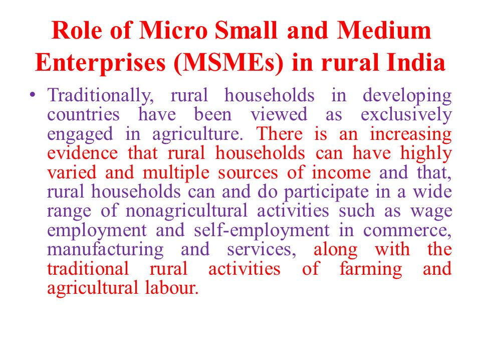 in india the micro and small Q 20:the reserve bank of india wants the definition that classifies industrial units in the micro, small and medium enterprise category as 'sick' changed as barely 2 per cent of such units have got rehabilitated in the last few yearsthe proposal to revise the definition is aimed at detecting signs of incipient sickness among msme units so.