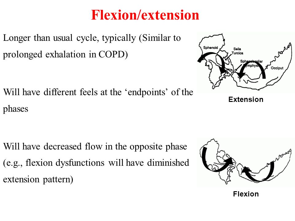Flexion/extension Longer than usual cycle, typically (Similar to prolonged exhalation in COPD)