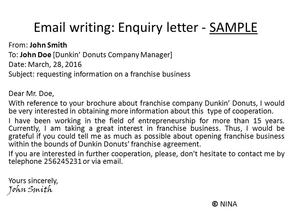 Sample Letter Requesting For Franchise. Email writing  Enquiry letter SAMPLE Aims of the class ciljevi asa ppt video online download