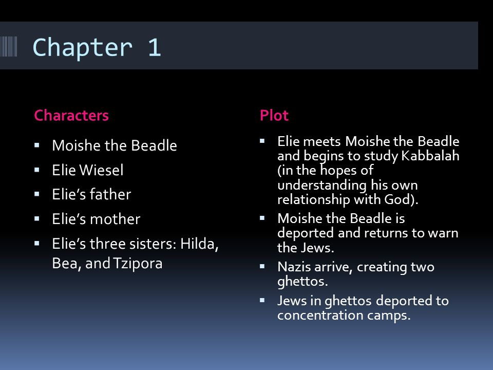 chapter summary from elie wiesel s night A midsummer night's dream night elie wiesel table of contents plot overview summary & analysis foreword section one section two section three.