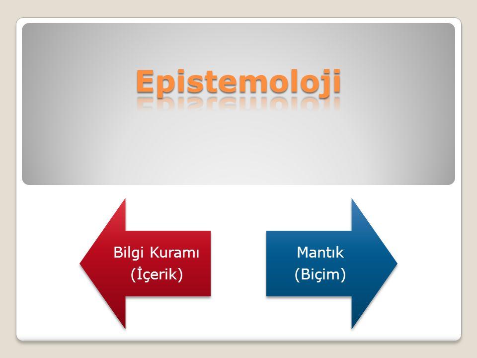 Epistemoloji Bilgi Kuramı (İçerik) Mantık (Biçim)
