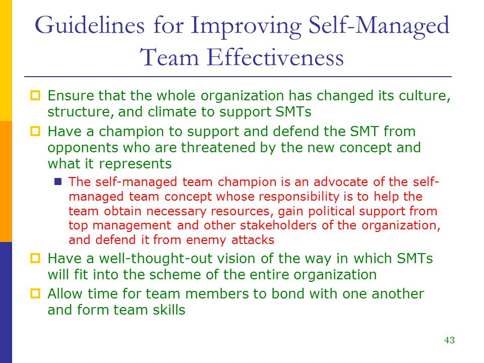 ensure team effectiveness 21 develop strategies to ensure team members have input into planning, decision making and operational aspects of work team 22 develop policies and procedures to ensure team members take responsibility for own work and assist others to undertake required roles and responsibilities 23.