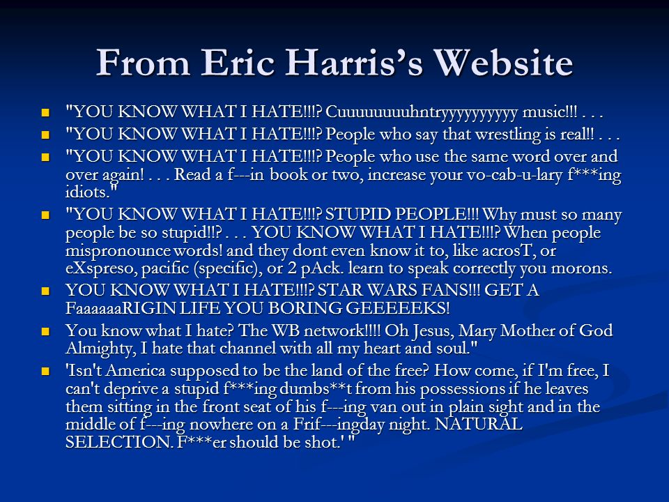 Why Eric Harris Natural Selection