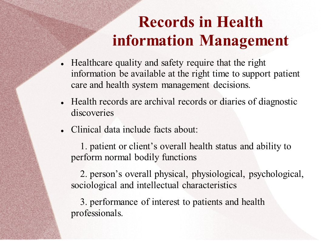 health information management The integration of health information technology (it) into primary care includes a variety of electronic methods that are used to manage information about people's health and health care, for both individual patients and groups of patients the use of health it can improve the quality of care, even as it makes health care more cost effective.