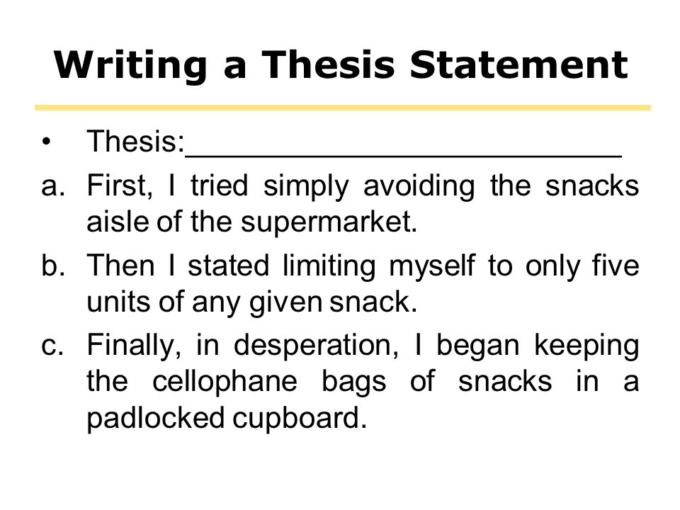 what is the first step in writing a thesis statement