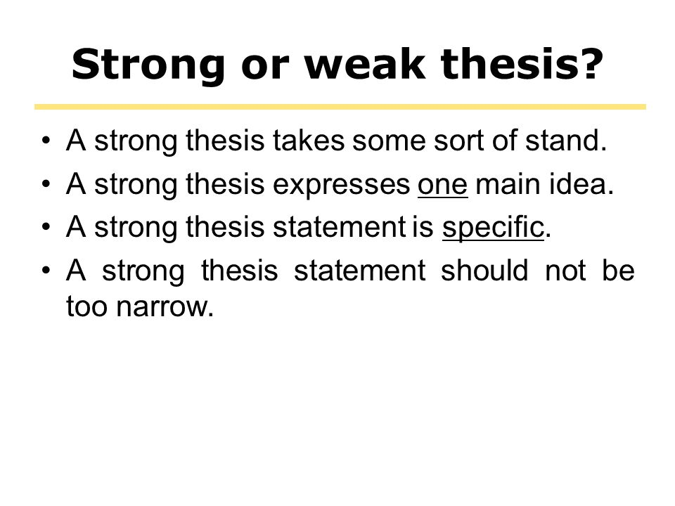 building a strong thesis A strong thesis statement gives direction to the paper and limits what you need to  write about it also functions to inform your readers of what you will discuss in.