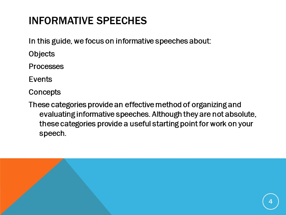 what is an informative speech The informative speech topic should be new and relevant to your audience in this way, you can be sure that your audience will listen carefully and learn from the information you deliver choose an informative speech topic you are interested in.