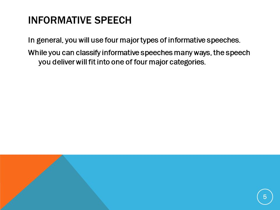 four types of informative speeches Informative speeches an informative speech is one in which the speaker relays  knowledge to an audience on a specific topic there are four distinct types of.