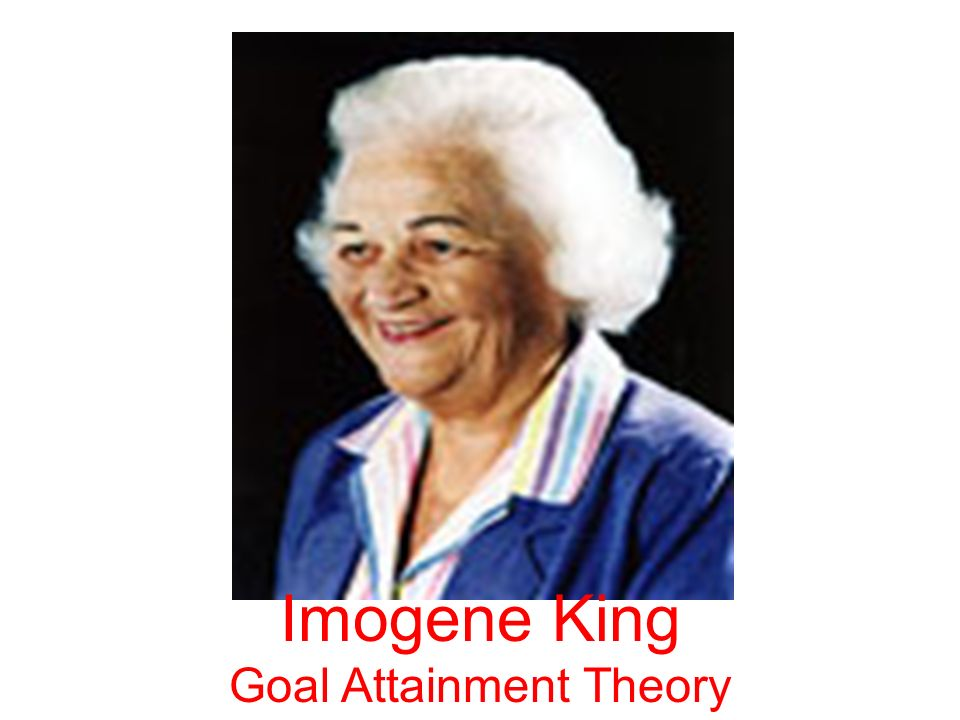 nursing theory of imogene king Nurse theorist: imogene king robbie wilson east tennessee state university nurse theorist: imogene king 2 nurse theorist: imogene king description of nurse theorist imogene m king was born on january 30, 1923 in west point, iowa in 1945, she received a diploma from st john's hospital - school .