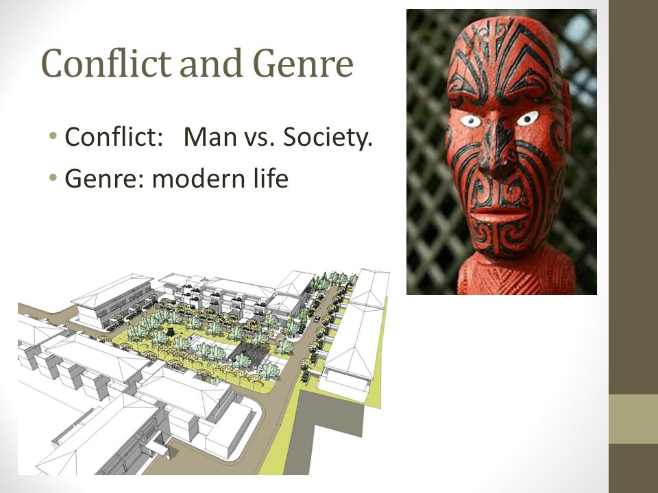Conflict and Genre Conflict: Man vs. Society. Genre: modern life