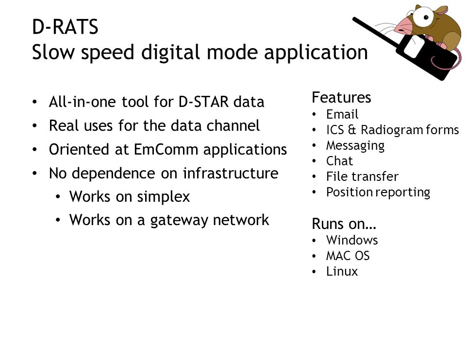D-RATS Slow speed digital mode application