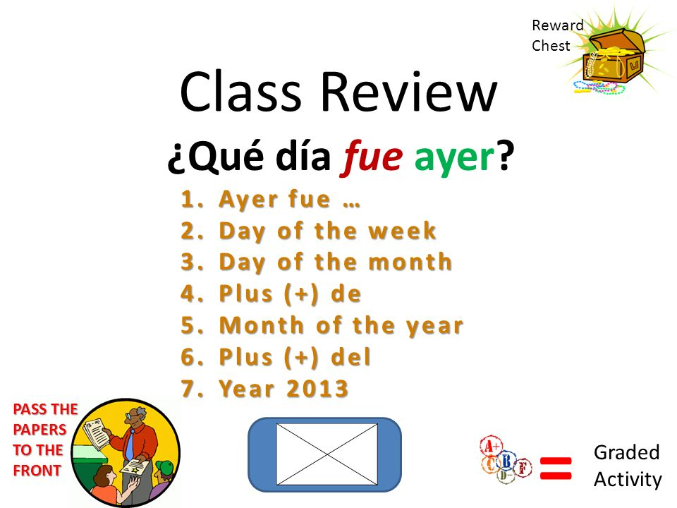 = Class Review ¿Qué día fue ayer Ayer fue … Day of the week