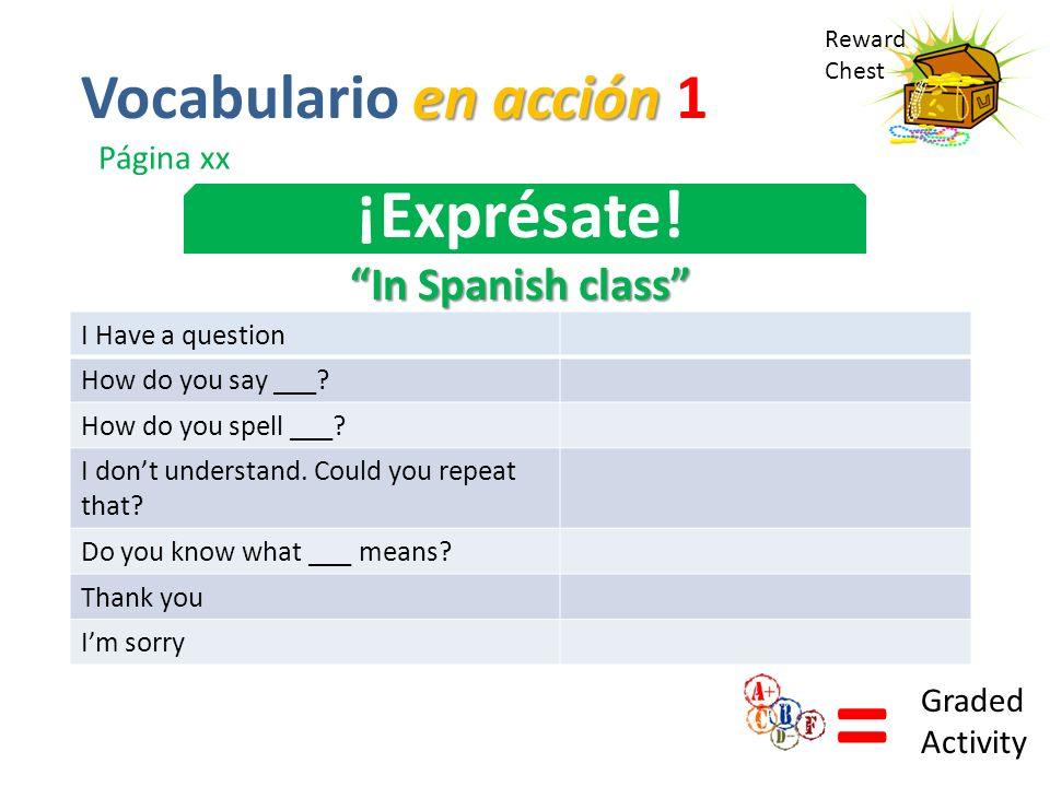 = ¡Exprésate! Vocabulario en acción 1 In Spanish class Página xx