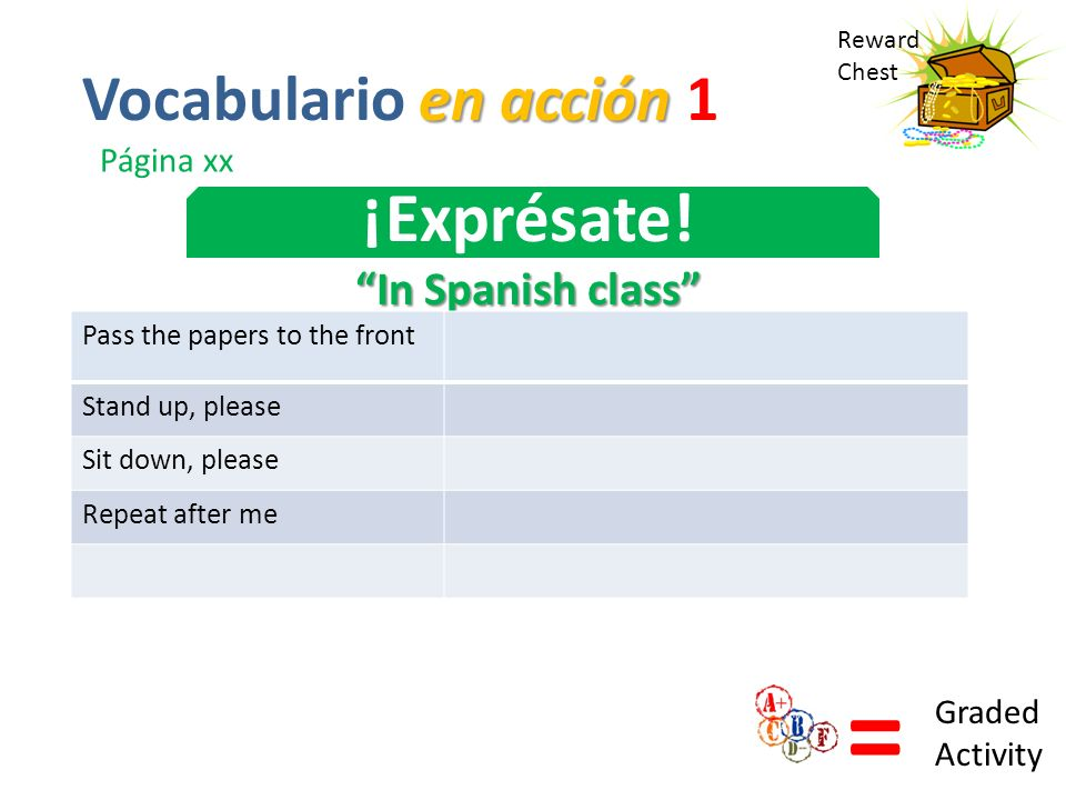 = ¡Exprésate! Vocabulario en acción 1 In Spanish class Página xx
