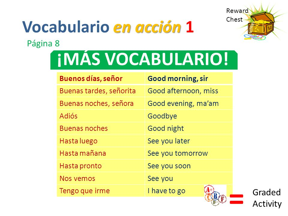 = ¡MÁS VOCABULARIO! Vocabulario en acción 1 Página 8 Graded Activity