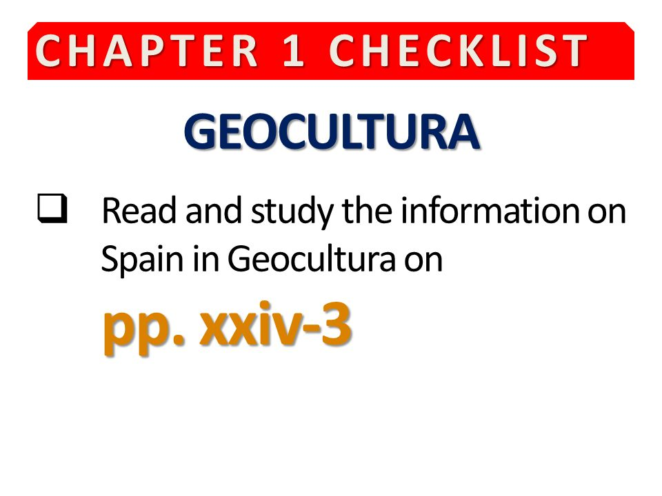GEOCULTURA CHAPTER 1 CHECKLIST