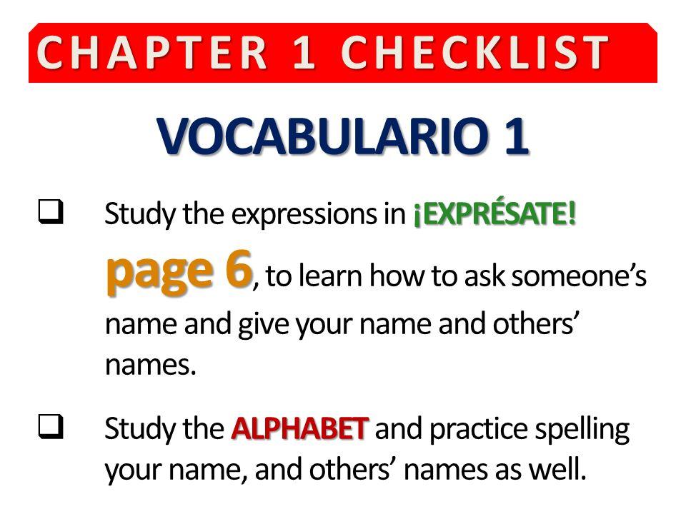 VOCABULARIO 1 CHAPTER 1 CHECKLIST