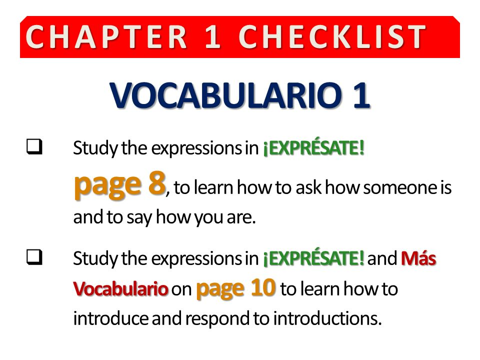 VOCABULARIO 1 CHAPTER 1 CHECKLIST