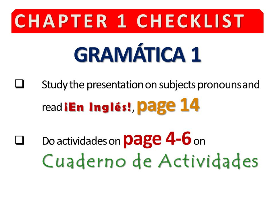 GRAMÁTICA 1 CHAPTER 1 CHECKLIST