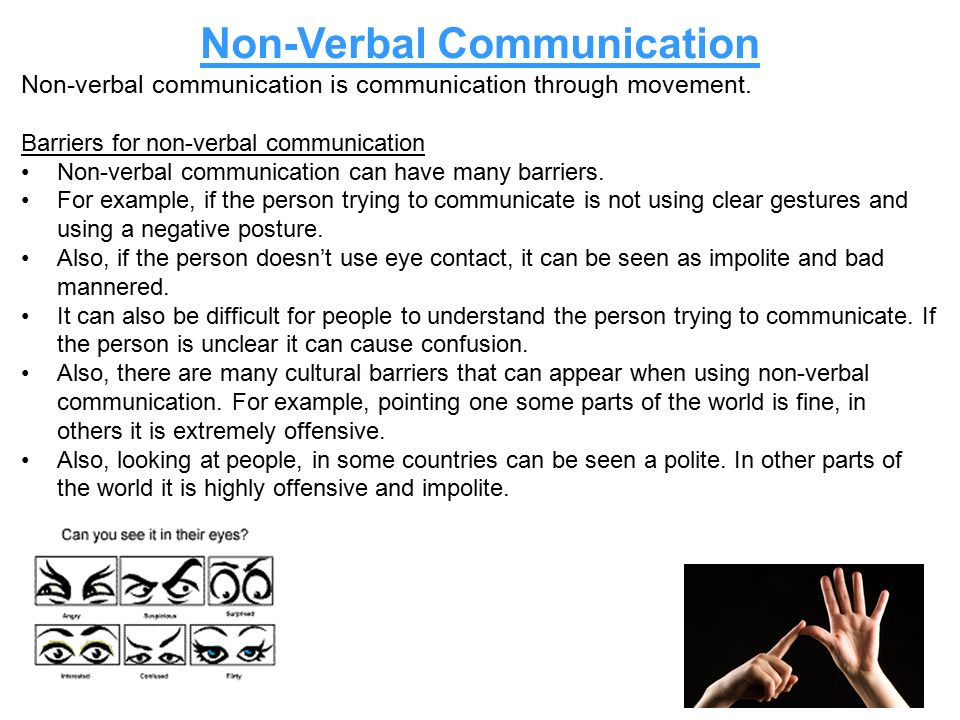 "an analysis of the verbal communication and the eye contact Communication - group communication analysis interpersonal interaction is a result of ""verbal and non-verbal communication and lack of eye contact some."