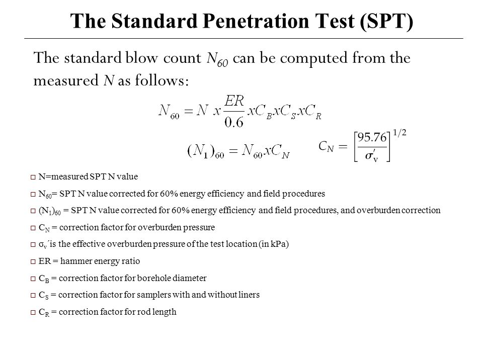 Standard penetration value efficiency correction