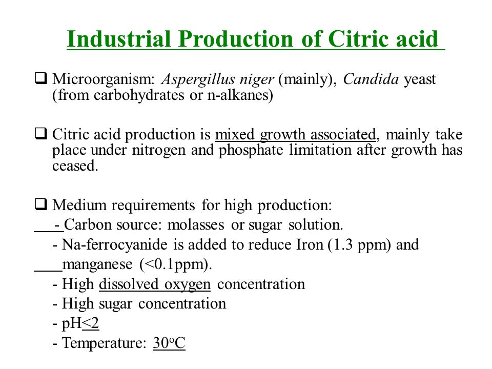 production of citric acid a niger Industrial-scale citric acid production first began in which is still the major industrial route to citric acid used today, cultures of a niger are fed on a.