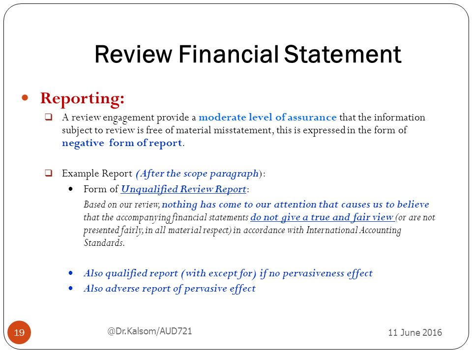 financial statement review Personal financial statements  preparing a personal financial statement often requires the  or items of a financial statement, or accounting and review.