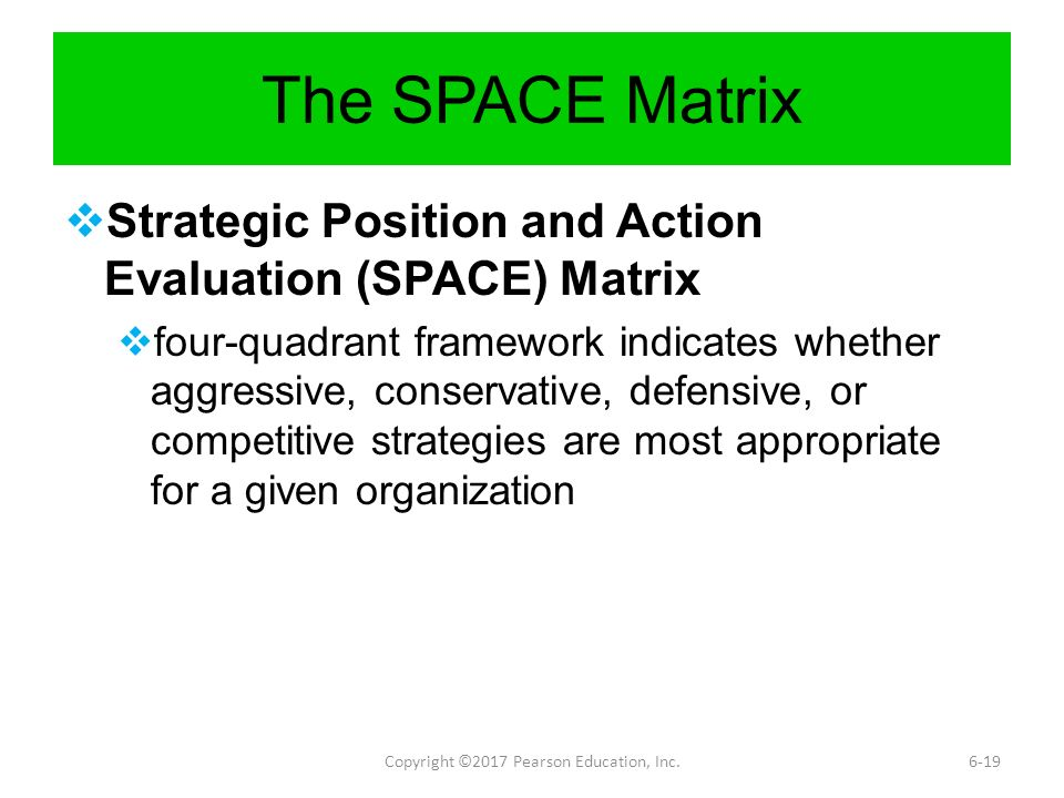 the strategic position and action evaluation space matrix Answer: for evaluating the sense and wisdom in a particular strategic plan, strategic position and action evaluation matrix (space) is the best technique it is used.