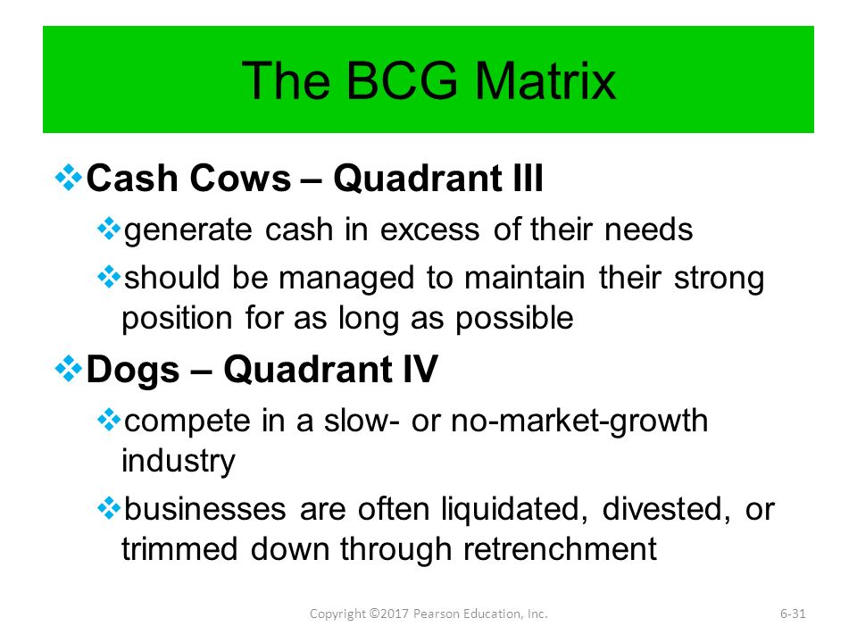 bcg matrix in education The boston consulting group (bcg) is an american multinational management  consulting firm  in 1969, bcg created the growth-share matrix, a simple chart  to assist large  isbn 0471757225 james p andrew and harold l sirkin:  payback – reaping the rewards of innovation harvard business school press,  2006.
