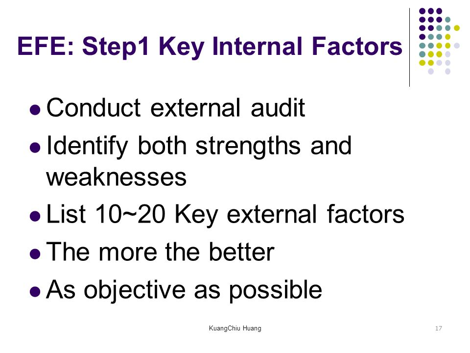 list internal and external environmental factors These factors can be positive or negative, and either internal or external what we mean by this is that these factors can either be as a direct consequence of the actions of the company (internal), or completely unrelated and avoidable (external.